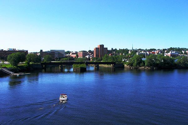View of Bangor, Maine from the water on a clear day
