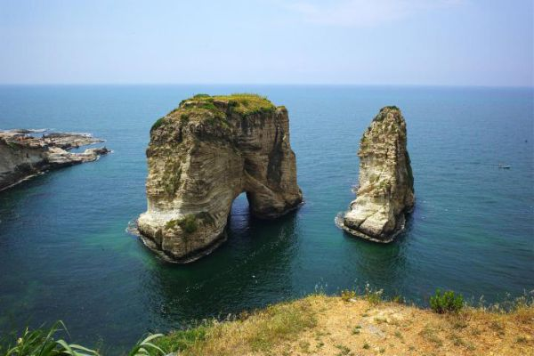 Landscape of the famous site of Pigeon Rocks in Beirut.