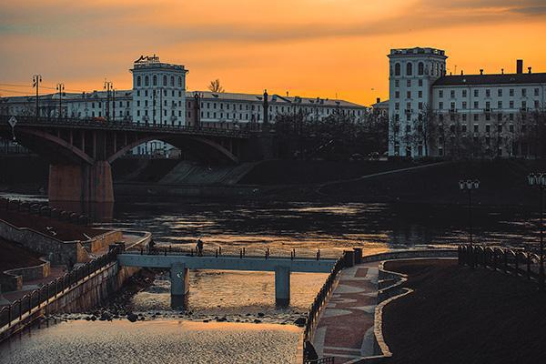 An orange sky over Vitebsk gives the Belarusian city a moody look