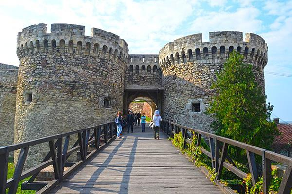 A wooden walkway leads into the Belgrade Fortress in Belgrade, Serbia