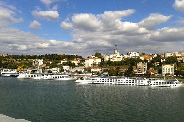 Riverboats floating along the Danube in Belgrade, Serbia
