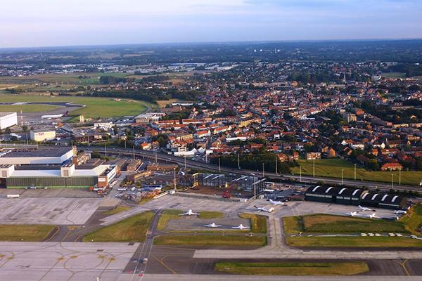 Aerial view over the Zaventem area of northern Brussels, around the Brussels airport. Belgium