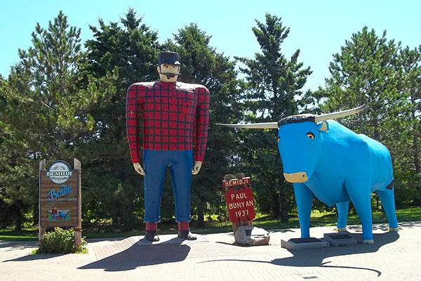 Statues of Paul Bunyan and Babe the Blue Ox on the shores of Lake Bemidji in Bemidji, Minnesota