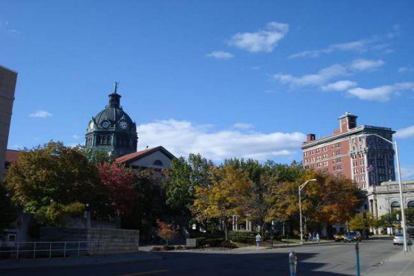 Downtown Binghamton on a sunny summer day.