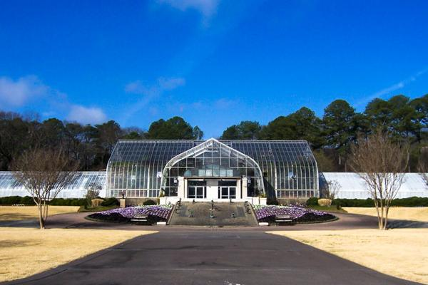 A conservatory sits peacefully under the winter sun in Birmingham, Alabama