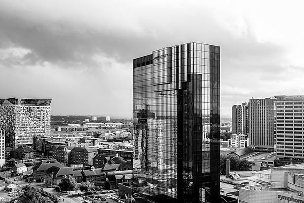 A black and white cityscape of Birmingham, United Kingdom