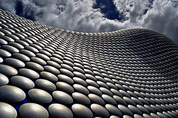 A unique silver architectural feature of Birmingham, United Kingdom