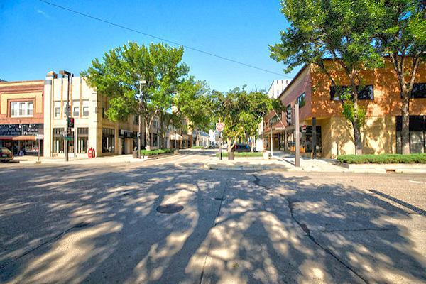 Tree shadows paint the streets of Bismarck, North Dakota