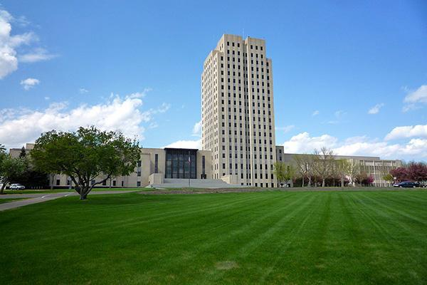 The North Dakota State Capitol stands tall in Bismarck