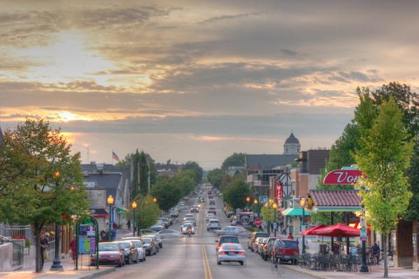The bustling downtown of Bloomington, Indiana