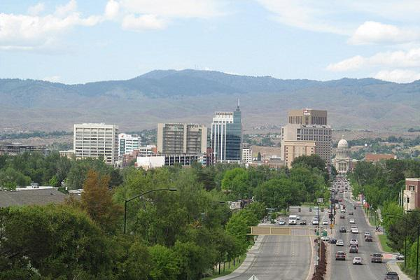 Boise is overlooked by mountains