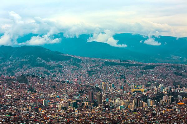 The crowded city of La Paz, Bolivia is among the highest in the world