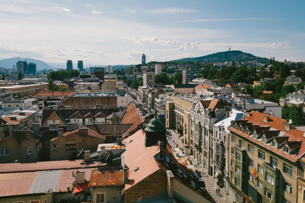 A rooftop view of the beautiful, crowded city of Sarajevo, Bosnia and Herzegovina