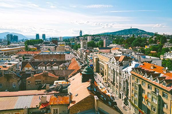 The crowded city of Sarajevo looking inviting from a high vantage point in Bosnia-Herzegovina