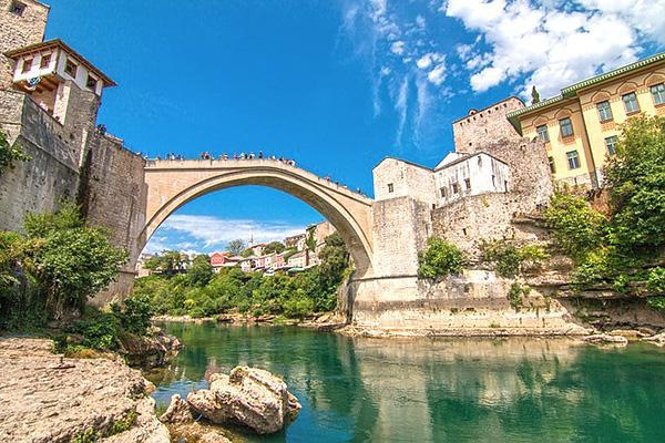 The Stari Most arch bridge looking beautiful on a clear day in Mostar, Bosnia-Herzegovina