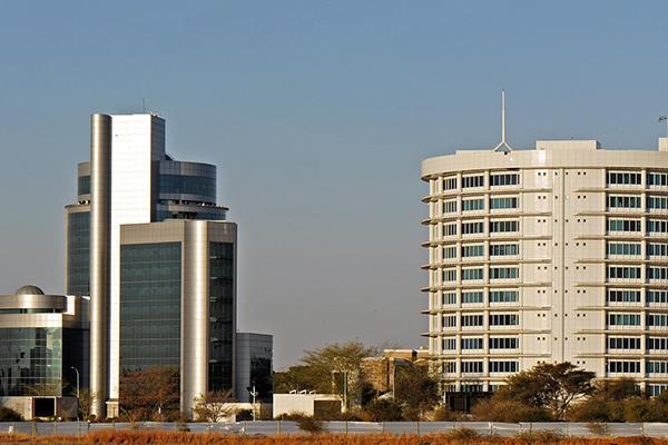 Gaborone architecture shining in the Botswana sun