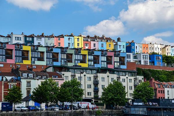 Colourful houses line the streets of Bristol, United Kingdom
