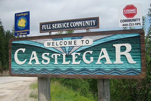 Welcome to Castlegar' sign on the way into Castlegar, British Columbia