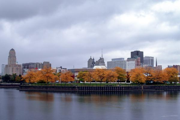 Orange leaves adorn the trees in Buffalo, New York during Autumn
