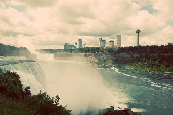 Water rushes over the American side of Niagara Falls just outside of Buffalo, New York