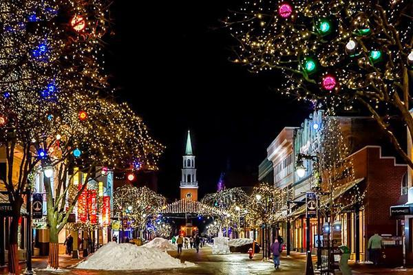 Church Street is lit up brightly at Christmas time in Burlington, Vermont