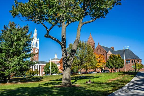 The University of Vermont sits pretty on an autumn day in Burlington, Vermont