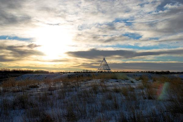 The iconic Teepee of Medicine Hat, Canada stands alone on a bright winter day