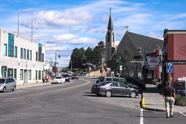 The centre of town is bustling in Val-d'Or, Canada