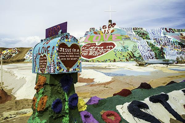The brightly coloured Salvation Mountain in El Centro, California