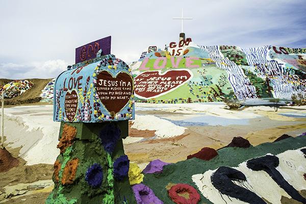 The brightly coloured Salvation Mountain in El Centro, California