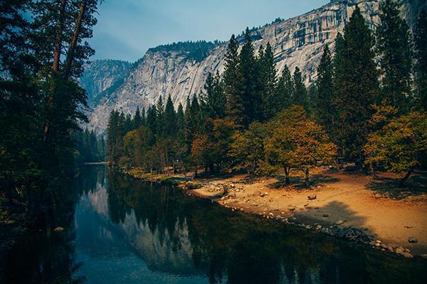 Crossing the Merced River, Yosemite Valley, California