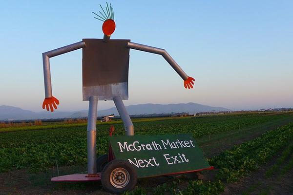 Tin man showing visitors the way to McGrath's organic market in Oxnard, California