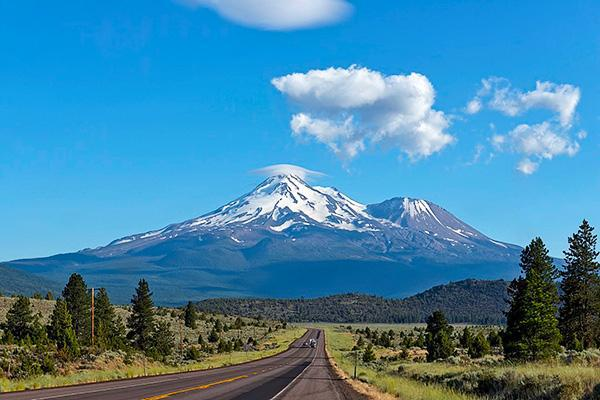 View of Mount Shasta from the highway on a clear day in California