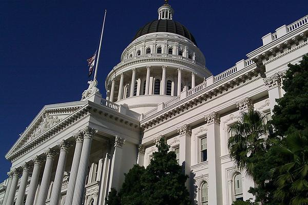 Corner view of the beautiful state capitol building in Sacramento, California
