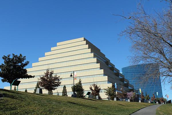 View of the Ziggurat pyramidal office building in Sacramento, California on a clear day