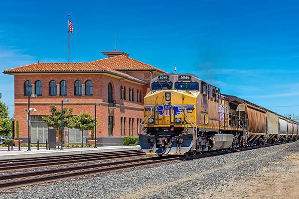 Train pulling out of train station in Stockton, California
