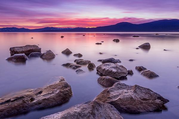 Sunset over the mountains at Lake Tahoe, California