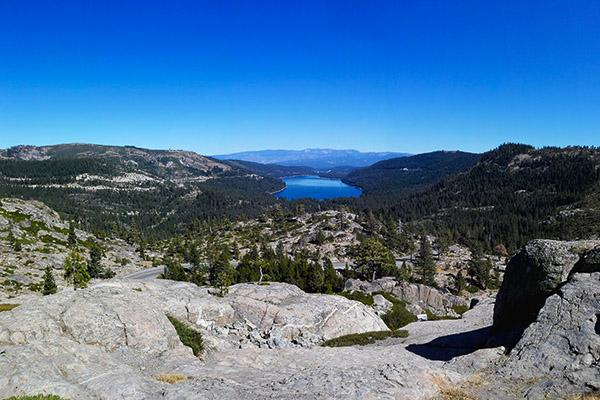 Donner Lake on a clear day just outside of Truckee, California