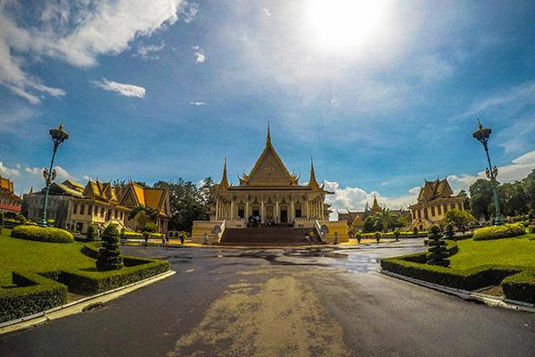 The Royal Palace in Phnom Penh looking stately in the midday sun in Cambodia