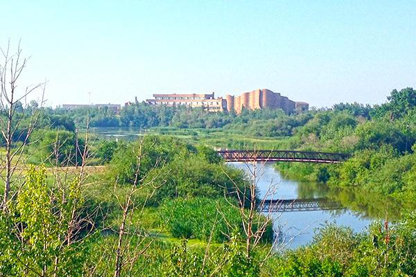 View of the Grande Prairie campus from across Muskoseepi Park, Grande Prairie, Alberta