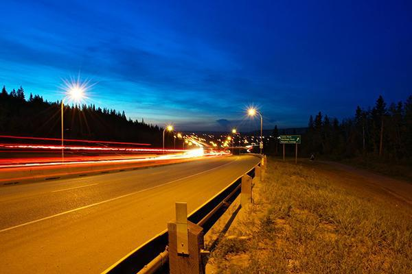 Long exposure shot of Fort McMurray from side of Highway 63