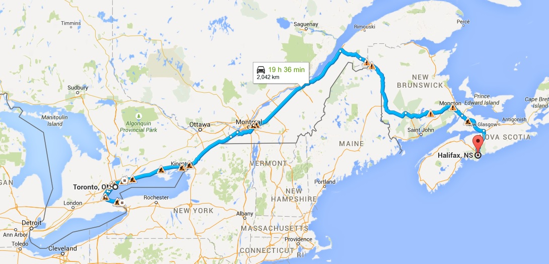 Toronto to Halifax map