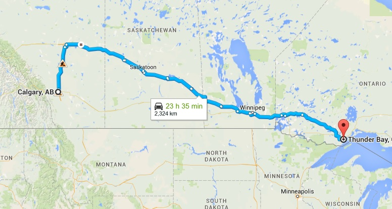 Calgary to thunder bay map