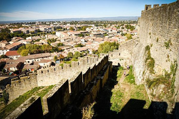 View of medieval Carcassonne, France from the citadel, La Cité