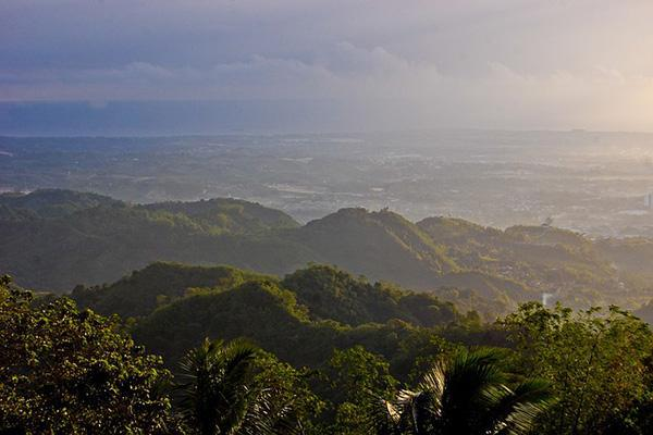 The lush green mountains of Cebu island in the Philippines