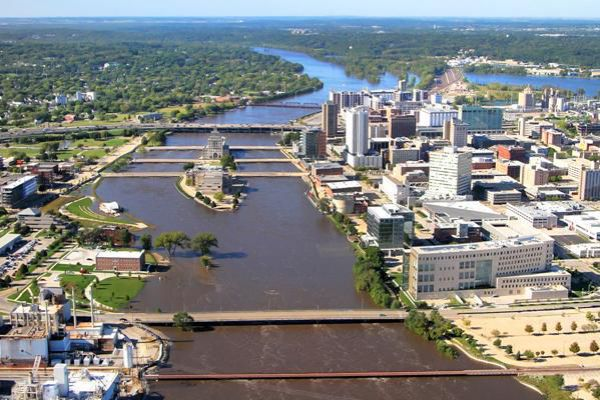 Downtown Cedar Rapids in Iowa sits on the banks of the Cedar River