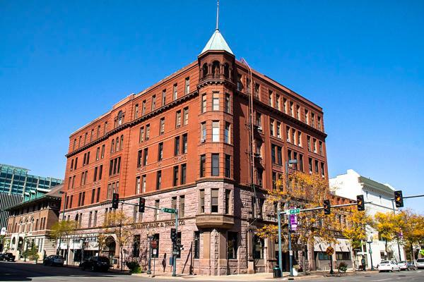 The historic building of Guaranty Bank & Trust is perched on a street corner in Cedar Rapids, Iowa