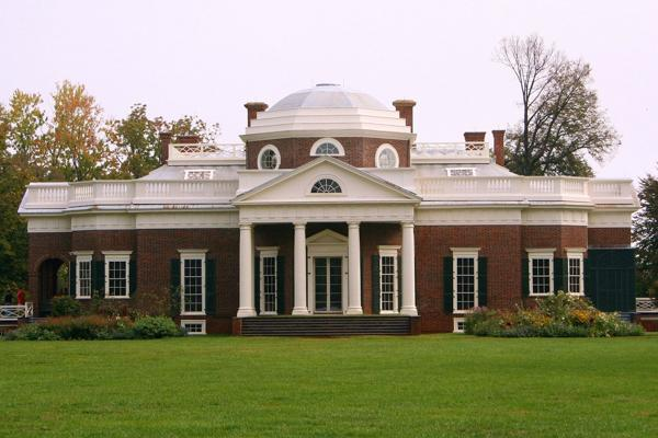 The Thomas Jefferson House stands proudly in Charlottesville, Virginia
