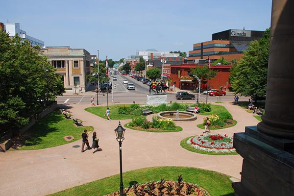 View of University Avenue from Province House in Charlottetown, Prince Edward Island, Canada