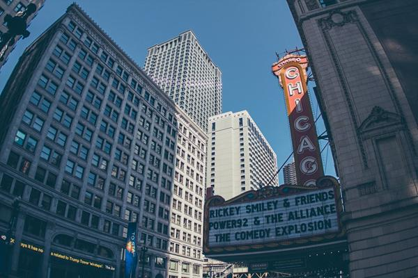 The historic sign outside of the Chicago Theatre in Chicago, Illinois